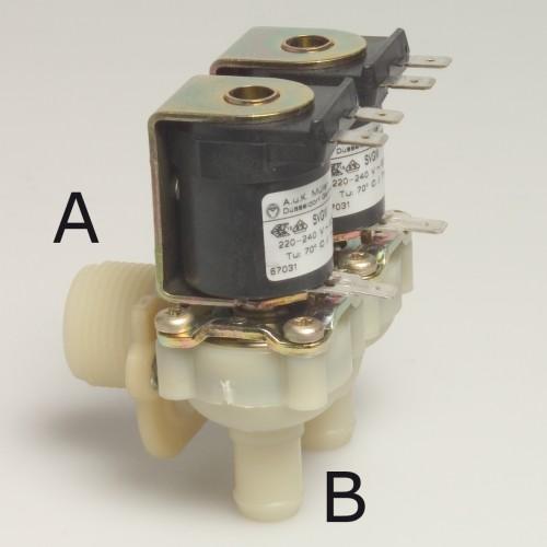 Magnetventil doppelt, Winkel 220V 3/4 Anschluss