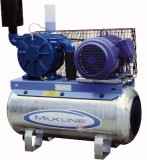 Vakuumpumpe 2500 Liter, 5,5 kW, auf Tank, komplett