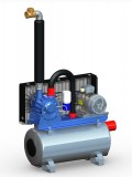 Vakuumpumpe 1250 Liter, 3,0 kW, auf Tank, komplett