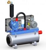 Vakuumpumpe 600 Liter, 1,5 kW, auf Tank, komplett
