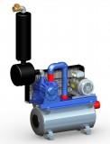 Vakuumpumpe 2070 Liter, 4,0 kW, auf Tank, komplett