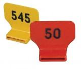 Nackenmarkierungsnummer gelb, beidseitig geprägt | 25er Pack